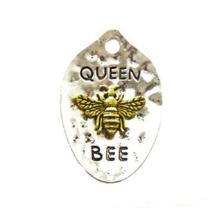 AB-0054 - Silver Pewter Queen Bee Pendant,Gold Bee,28x42mm | Pkg 1