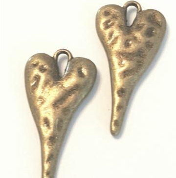 AB-0070 - Antique Copper Pewter Puffy Long Heart Pendant,13x27mm | Pkg 5