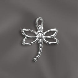SS/CR5/DF1  - Sterling Silver 12.5mm Dragonfly Charm | Pkg 1