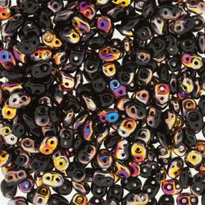 DU0523980-29500 - Czech Glass SuperDuo Beads, Jet Sliperit | 25 Grams