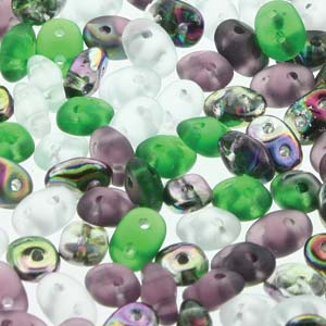 DU05MIX145 - Czech Glass SuperDuo Beads, Fluorite | 25 Grams