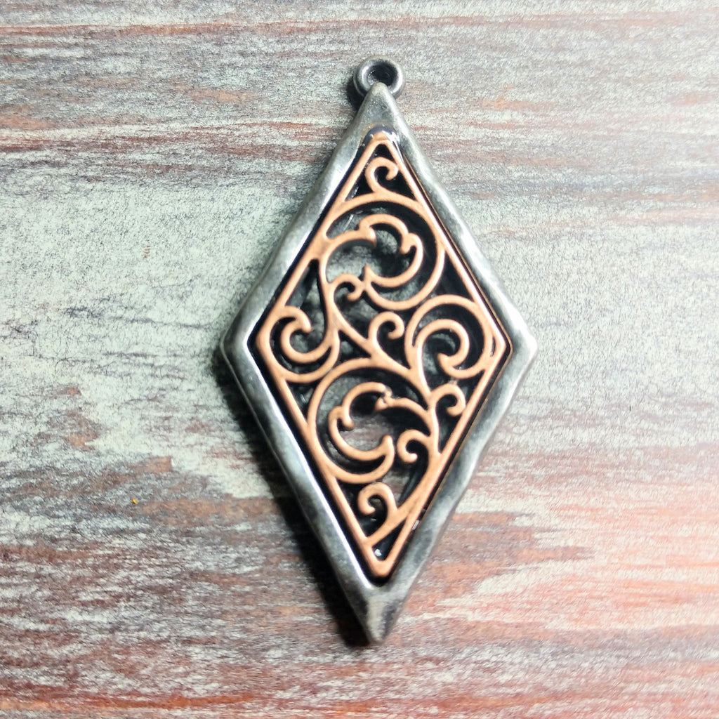 AB-2121 - Pewter Diamond Pendant With Filigree,Gunmetal/Copper,26x58mm | Pkg 1