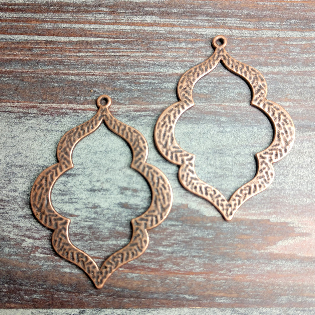 AB-0508 -  Antique Copper Pendant, Curvy Drops, 40x54mm | Pkg 2