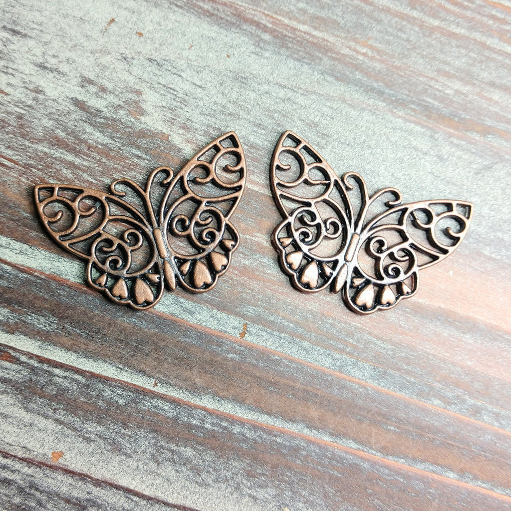 AB-0709 - Antique Copper Open Butterfly Pendant/Connector, 28x38mm | Pkg 2