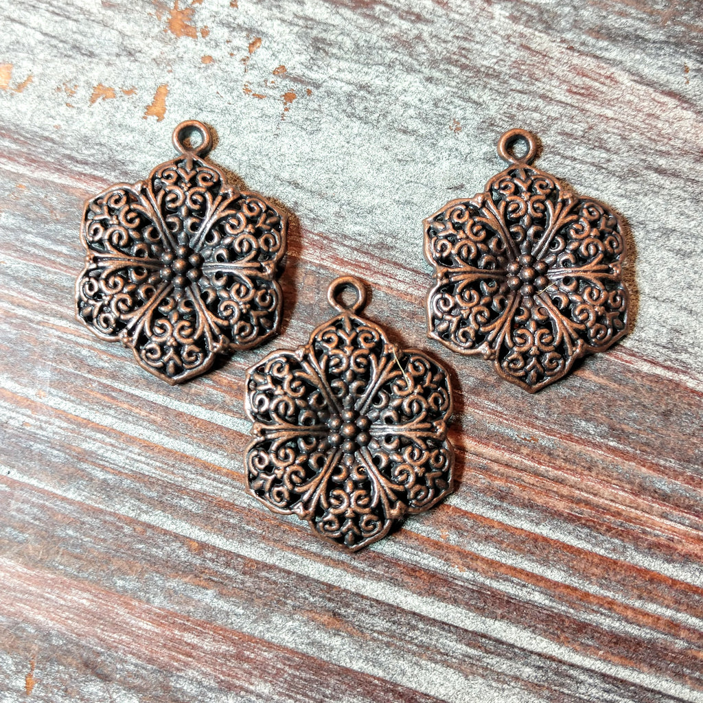 AB-5744 - Antique Copper Flower Pendant, 25mm | Pkg 3
