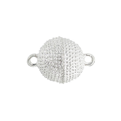 AB-3030 - Silver Plated 14mm Beaded Magnetic Clasp  | Pkg 1