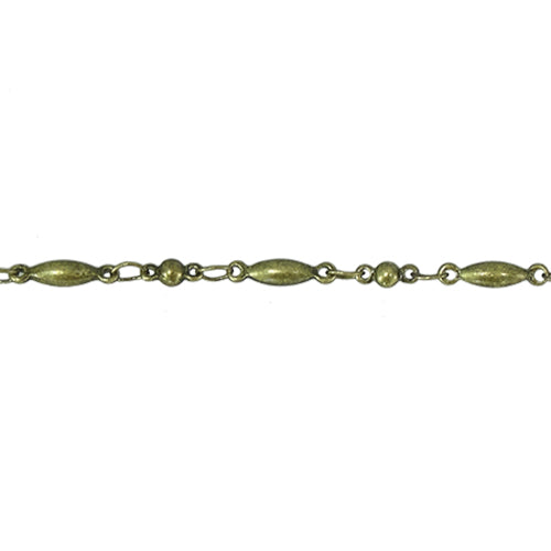CHN-0018 - Antique Brass Oval And Round Bead Chain | 3 Feet