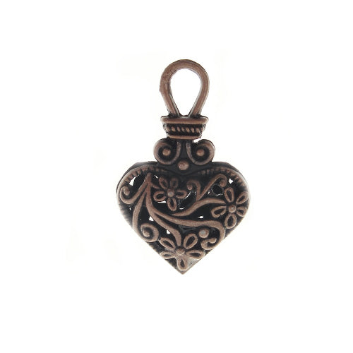 AB-0285 - Antique Copper Fancy Filigree Heart Pendant/Charm, 19x31mm | Pkg 2
