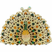 Peacock Shape Gold/Green Crystals Clutch Bag
