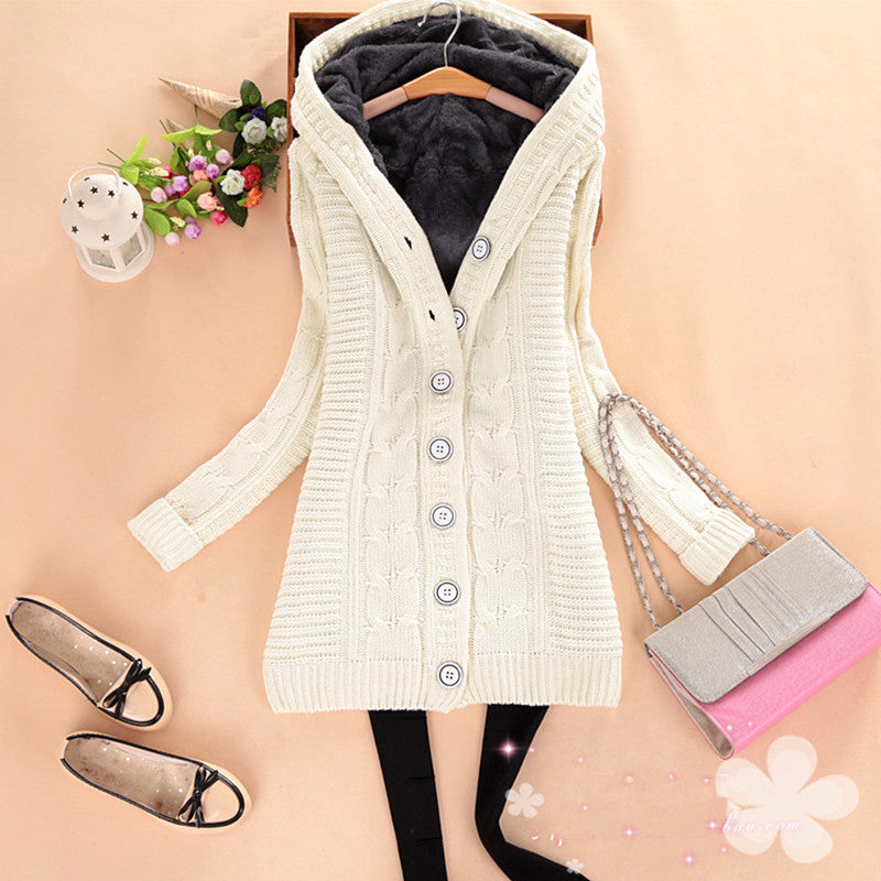 Women's Loose Knitted Hooded Cardigan