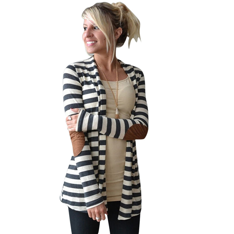 Long Sleeve Striped Printed Cardigan