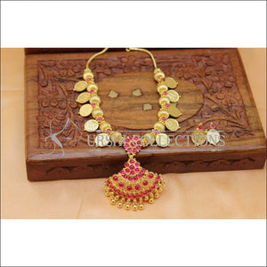 Designer Gold plated Kempu Lakshmi Necklace Set UC-NEW2752 - Red - Necklace Set