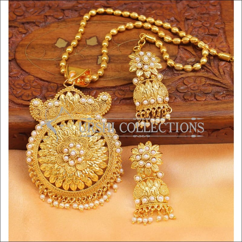 Designer Gold Plated Pendant Set UC-NEW2686 - White - Pendant Set