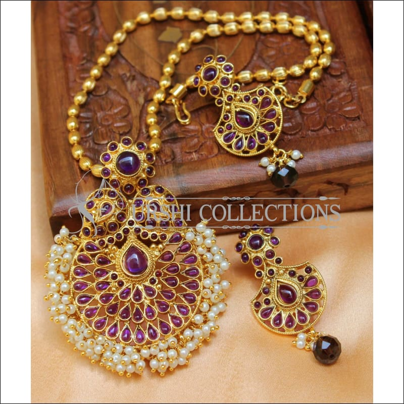 Designer Gold Plated Pendant Set UC-NEW2715 - Purple - Pendant Set