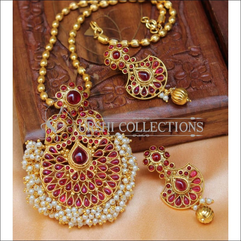 Designer Gold Plated Pendant Set UC-NEW2715 - Red - Pendant Set