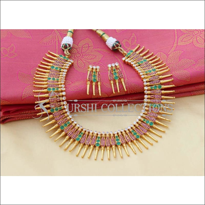 Designer Gold Plated Ruby Emerald Necklace Set UC-NEW2760 - Necklace Set