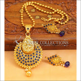 Designer Gold Plated Temple Pendant Set UC-NEW2654 - Blue - Pendant Set