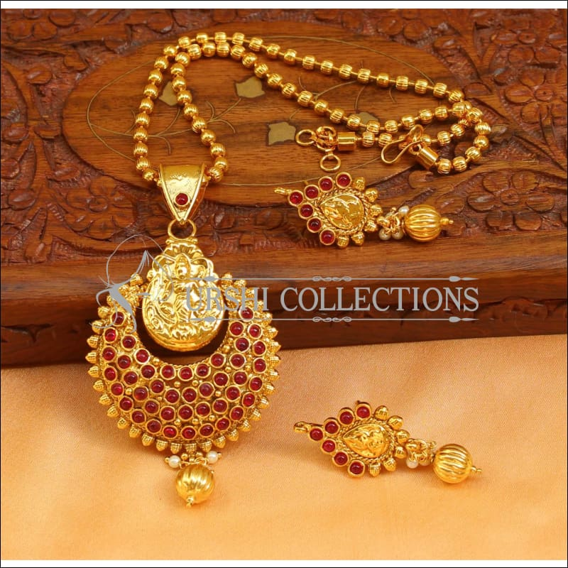 Designer Gold Plated Temple Pendant Set UC-NEW2654 - Ruby - Pendant Set