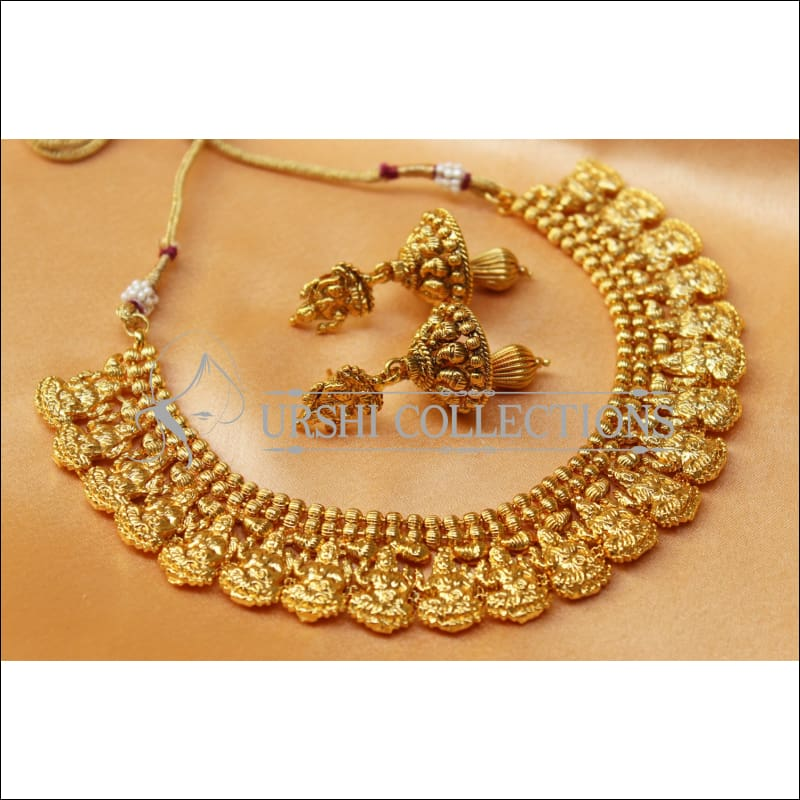 Elegant Gold Plated Lakshmi Necklace Set UC-NEW2571 - Necklace Set