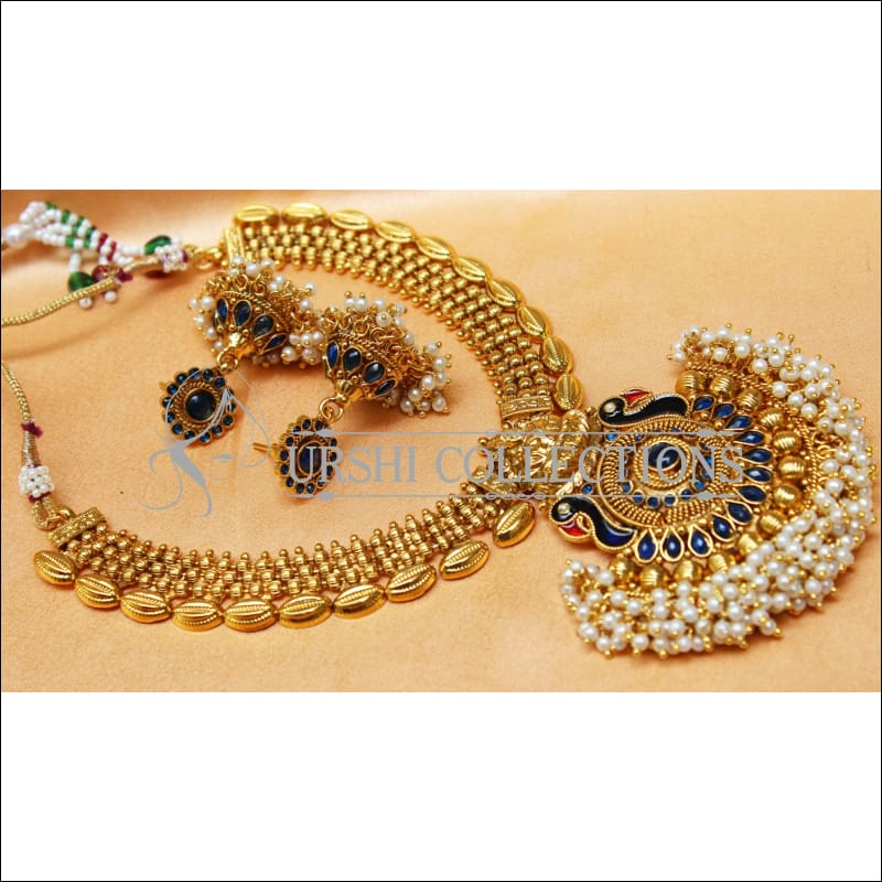 Elegant Gold Plated Lakshmi Necklace Set UC-NEW2573 - Blue - Necklace Set