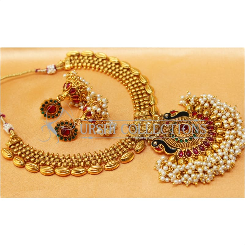 Elegant Gold Plated Lakshmi Necklace Set UC-NEW2573 - Multi - Necklace Set