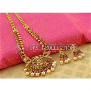 Elegant Matte Finish Lakshmi Necklace Set UC-NEW2556 - Ruby - Necklace Set