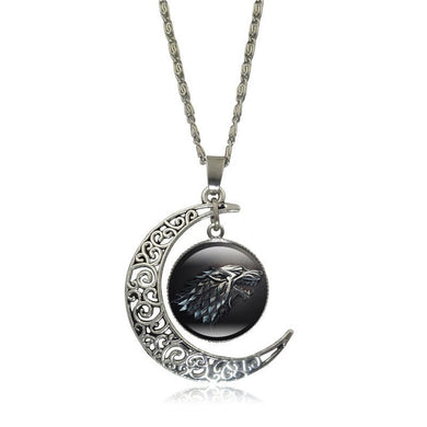 Game of Thrones - Crescent Moon w/ House Stark Glass Pendant Necklace - Jewelry - TheGeekLeak.com