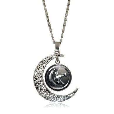 Game of Thrones - Crescent Moon w/ House Arryn Glass Pendant Necklace - Jewelry - TheGeekLeak.com