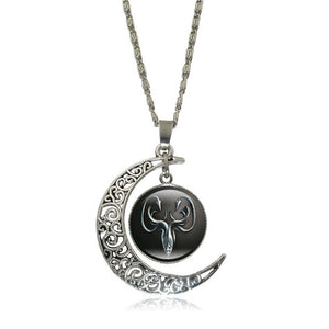 Game of Thrones - Crescent Moon w/ House Greyjoy Glass Pendant Necklace - Jewelry - TheGeekLeak.com