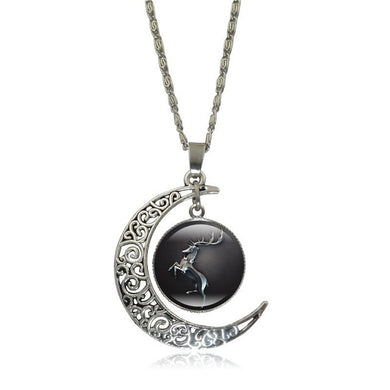 Game of Thrones - Crescent Moon w/ House Baratheon Glass Pendant Necklace - Jewelry - TheGeekLeak.com