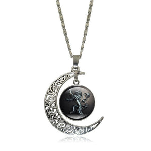 Game of Thrones - Crescent Moon w/ House Lannister Glass Pendant Necklace - Jewelry - TheGeekLeak.com