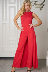 THE JUMPSUIT SCOOP NECKLINE SLEEVELESS LONG WIDE LEG PANTS