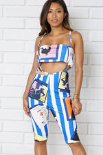 TWO PIECE SETS BANDEAU TOP AND ORDINARY SHORTS