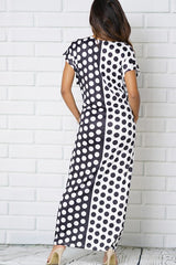 BLACK WHITE POLKA DOTS PRINT POCKETS SCOOP NECKLINE MAXI DRESSES