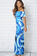 FLOUNCE OFF SHOULDER MULTI PRINT MAXI DRESS