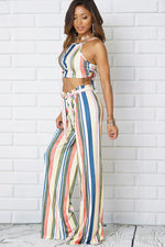 CROP TOP SLEEVELESS MULTI STRIPED TWO PIECE SETS