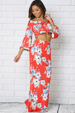 OFF SHOULDER BELL SLEEVE TWO PIECE SET