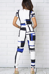 COLOR BLOCK FRONT POCK SHORT SLEEVE JUMPSUITS