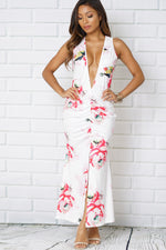 PLUNGE NECK FRONT SPLIT FLORAL PRINT MAXI DRESS