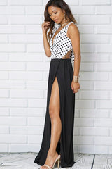 V-Neck Sleeveless Slit Maxi Dress
