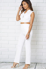 TURN DOWN COLLAR FRONT BUTTON JUMPSUITS