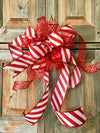 The Candi Red & White Stripe Christmas Bow