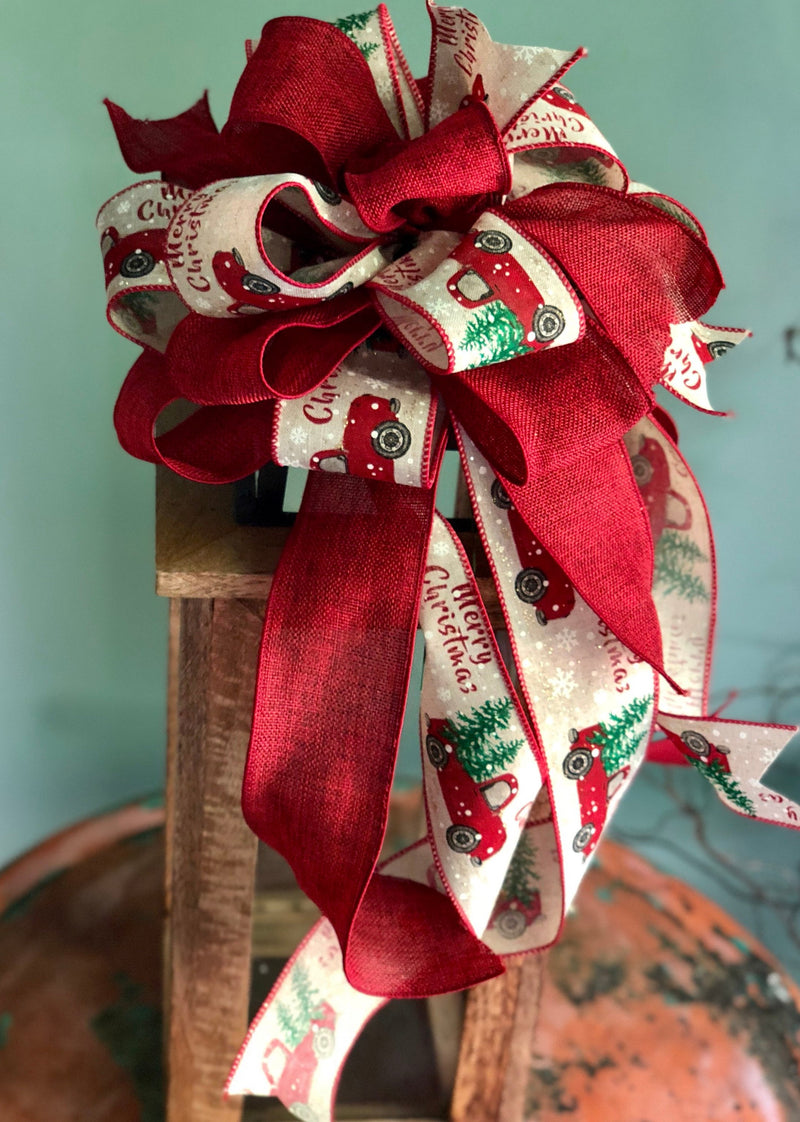 The Christabel Cranberry and Tan Vintage Truck Christmas Tree Topper bow~farmhouse bow for wreaths~lantern bow~rustic bow~country bow