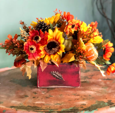 The Kaitlyn Fall Rustic Farmhouse Centerpiece For Table~orange and yellow sunflower pumpkin arrangement~Autumn centerpiece~Small silk floral
