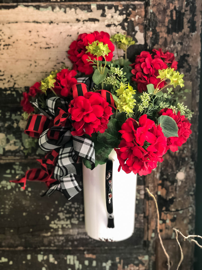 The Augusta Red & White Metal Hanging Wall Pitcher With Handle~Front door vase for flowers with flat back filled with faux geraniums