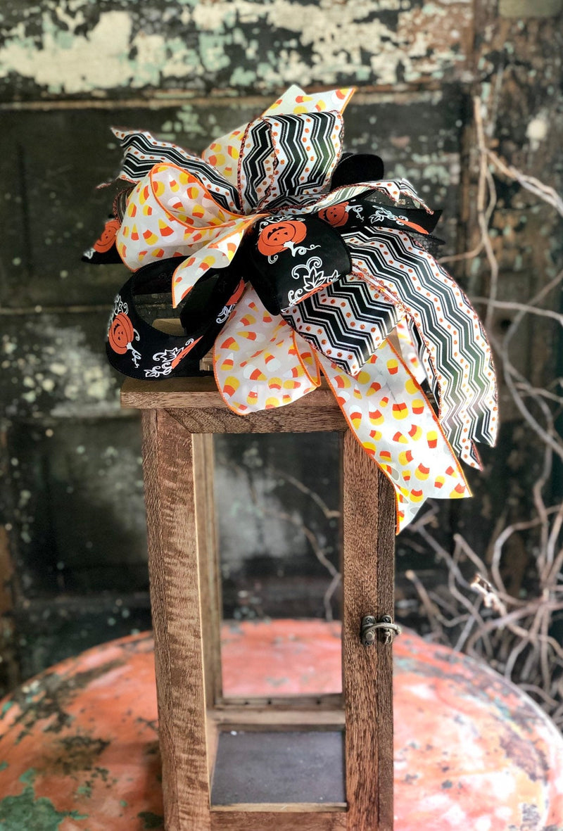 The Hermoine Orange Black & White Halloween Bow for Wreaths and Lanterns~All hallows eve bow~candy corn bow~large bow for mailbox~Pumpkinbow