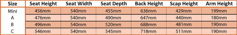 BARWON ELECTRIC LIFT CHAIR SIZING GUIDE