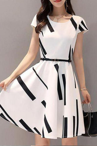 Round Neck  Printed Skater Dress