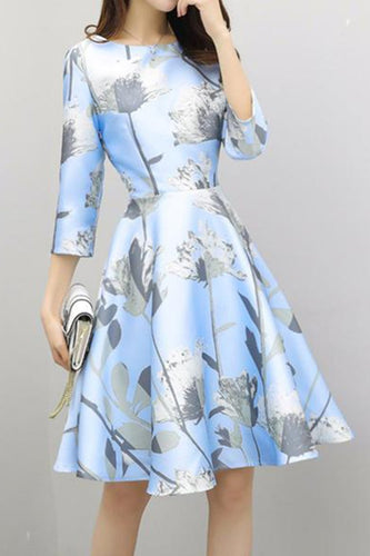 Floral Printed Round Neck Skater Dress