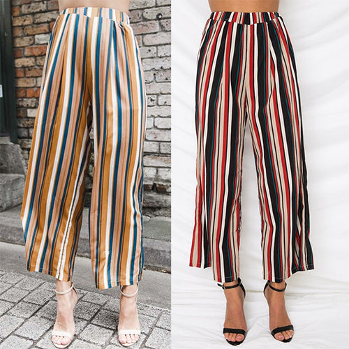 Striped Printed Wide Leg Pants